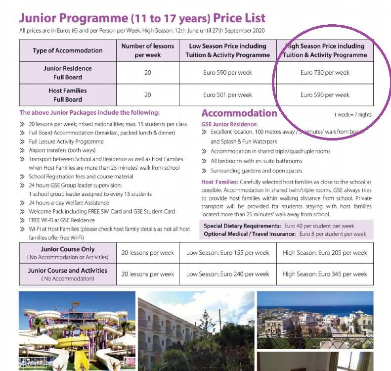 preços dos cursos Junior Intercâmbio em Malta com a Gateway SChool of English GSE